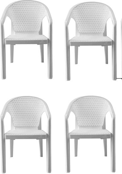 ITALICA ( SHREE GANESH ONLINE ) original seller 5202 oxy series chairs - modern stackable plastic standard armchairs (matte finish, white, set of 4) Plastic Outdoor Chair