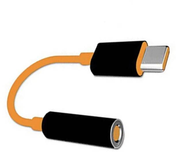 electmart Black, Orange Headphone Connector Type C To 3.5mm Jack Audio Convertor Phone Converter