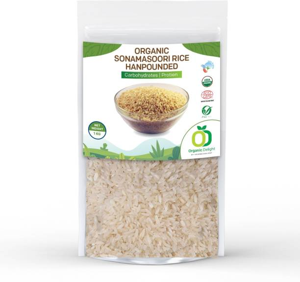 Organic Delight Sona Rice 5000GM Pack of 5 Sona Masoori Rice (Medium Grain, Raw)