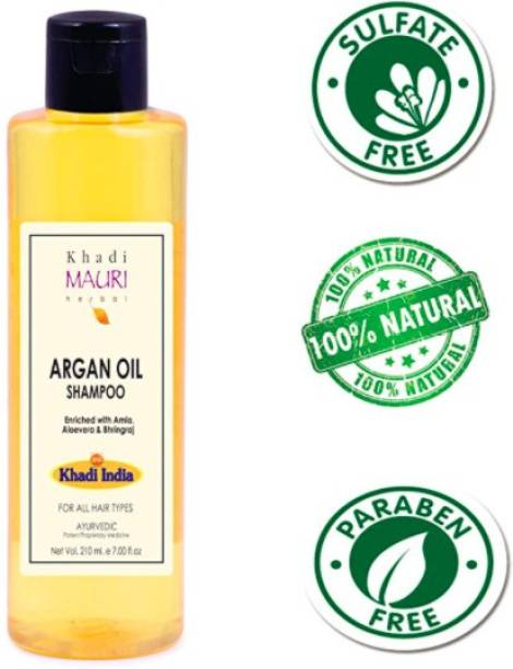 Khadi Mauri Herbal Argan Oil Shampoo - SLES & Paraben Free - Boosts Hair Growth & Thickness - Enriched with Amla, Bhringraj & Aloe Vera, White, 210 ml