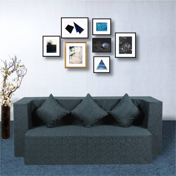 Seventh Heaven 3 Seater Sofa cum Bed - Washable Fabric Cover with 3 Cushions Double Sofa Bed