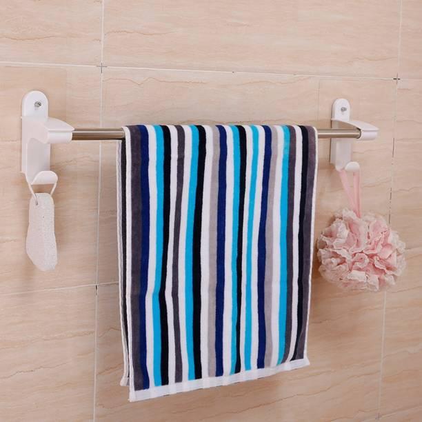 HOKiPO Magic Sticker Series Self Adhesive Bathroom Towel Hanger With 2 Hooks 22 inch 1 Bar Towel Rod