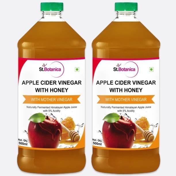 St.Botanica Apple Cider Vinegar with Mother Vinegar and Honey - 500 ml (Pack of 2) Vinegar
