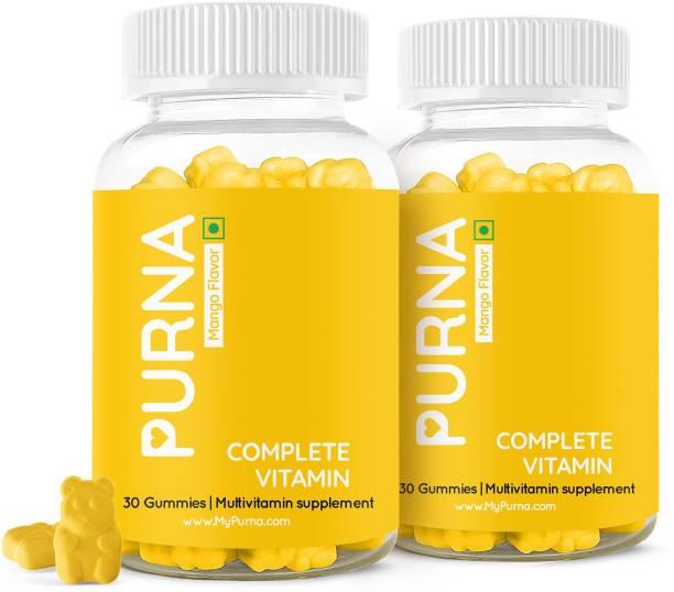 Purna Gummies Men & Women's Immunity Multivitamin Mango Gummies - Vitamins A, C, D, E, B12