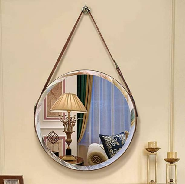 casagold Round Wall-Mounted Hanging Mirror with Leather Strap