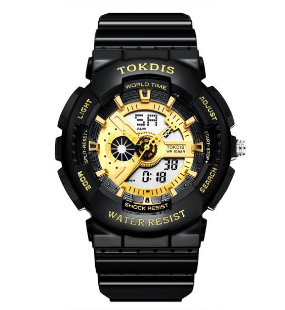Tokdis GT-1 Watch For Men - Premium Imported Casual Sporty Analog Digital Automatic Day and Date Function Black and Red Dial Black Synthetic Leather (Silicon) Strap watch for Men and Boys Analog-Digital Watch  - For Men