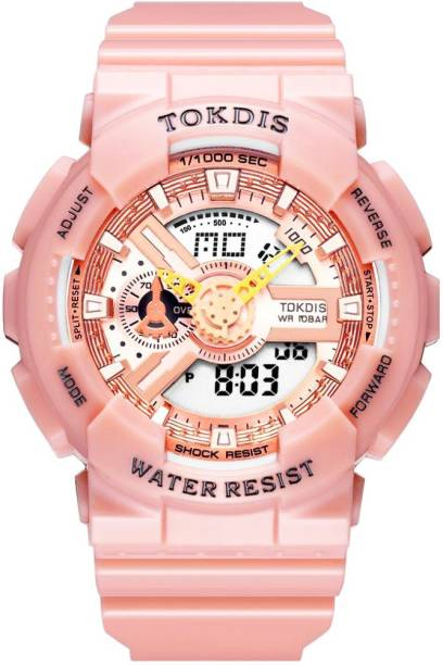 Tokdis GT-8 Watch For Women - Premium Imported Casual Sporty Analog Digital Automatic Day and Date Function Pink Dial Pink Synthetic Leather (Silicon) Strap watch for Men and Boys Analog-Digital Watch  - For Men