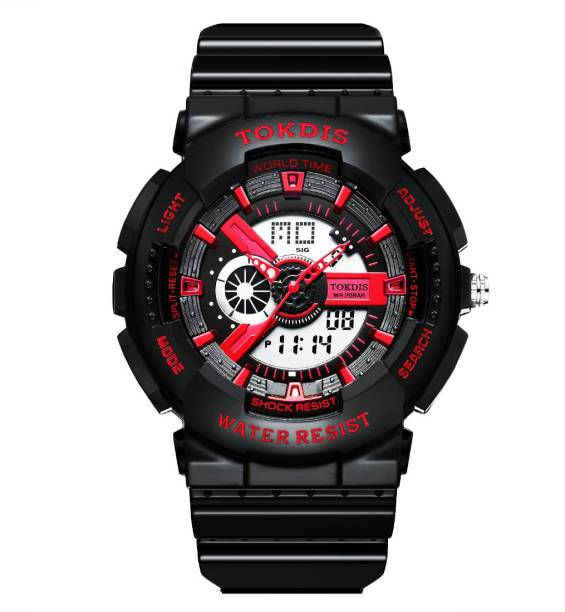 Tokdis GT-4 Watch For Men - Premium Imported Casual Sporty Analog Digital Automatic Day and Date Function Red Dial Black Synthetic Leather (Silicon) Strap watch for Men and Boys Analog-Digital Watch  - For Men