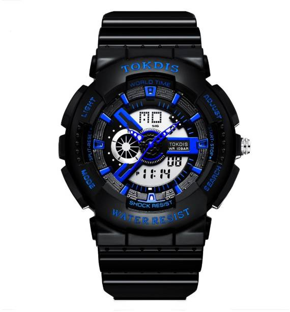 Tokdis GT-5 Watch For Men - Premium Imported Casual Sporty Analog Digital Automatic Day and Date Function Blue Dial Black Synthetic Leather (Silicon) Strap watch for Men and Boys Analog-Digital Watch  - For Men