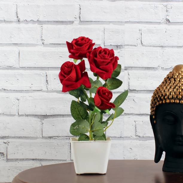 Flipkart Perfect Homes Rose Artificial Flower with White square pot for Home ad Office Decor Red Rose Artificial Flower  with Pot
