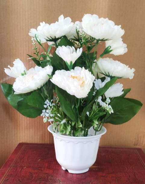 BK Mart White Carnations Artificial Flower  with Pot