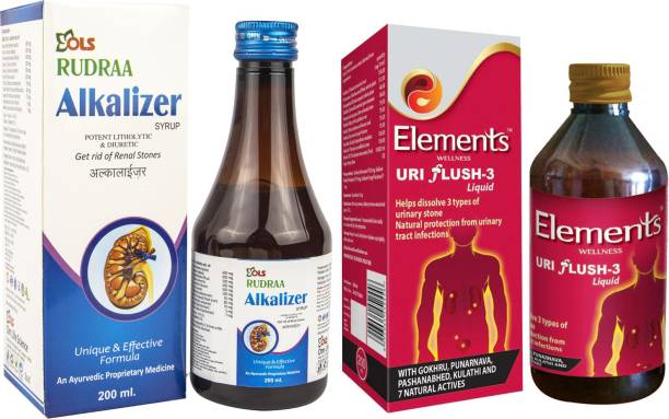 Rudraa Alkalizer Syrup For Renal Stone And ELEMENTS WELLNESS Uri Flush 3 Liquid to dissolve 3 types of urinary stone