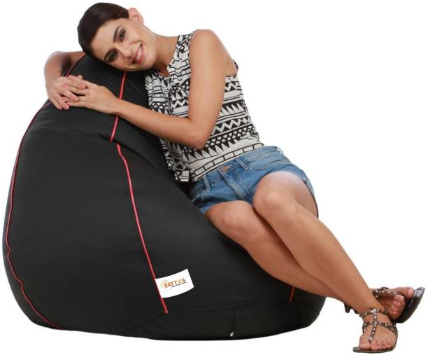 Sattva XXXL Black with Pink Piping Teardrop Bean Bag  With Bean Filling
