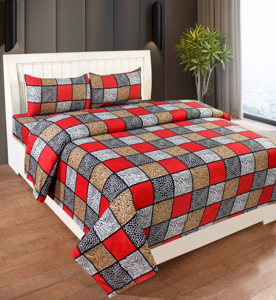 SS88 HOMES 160 TC Cotton Double Checkered Bedsheet