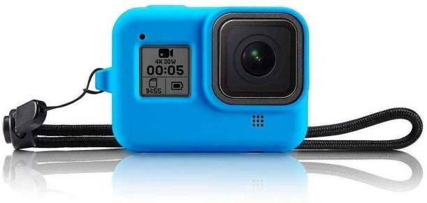 DEALPICK AMZY Protective Silicone Sleeve Cases Lanyard Compatible with GoPro Hero 8 Black Accessories Soft Rubber Frame Cover Case Protection for Hero 8 Black Action Camera - Blue Camera Housing