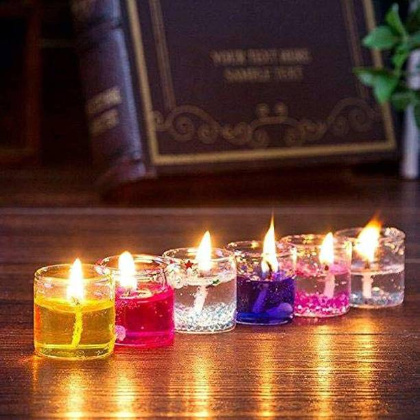 Kivya Home Decor Multicolour Cute Romantic Glass Jelly Gel Candles Decor Gel Wax Smokeless Decorated Mini Candles for Home Decor Diwali Decoration,Spa,Birthdays Party,Festivals (Set of 6, Multi) Candle