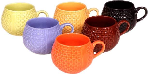 MR PERFECT Pack of 6 Ceramic New Multi Ball Tea/Coffee Cups, 130 Ml, Set of 6 Pieces, Multicolour