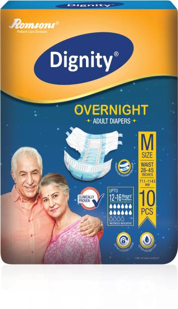 """DIGNITY Overnight Adult Diapers, Medium, Waist Size 28"""" - 45"""", 10 Pcs/Pack (Pack of 1) Adult Diapers - M"""