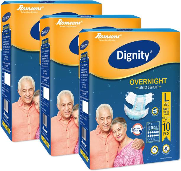 """DIGNITY Overnight Adult Diapers, Large, Waist Size 38"""" - 54"""", 10 Pcs/Pack (Pack of 3) 30 Pcs Adult Diapers - L"""