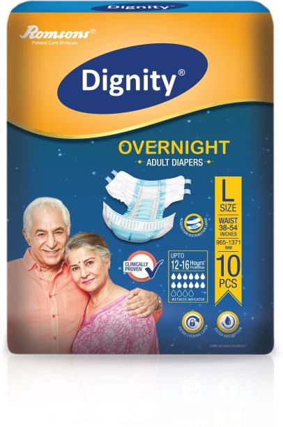"""DIGNITY Overnight Adult Diapers, Large, Waist Size 38"""" - 54"""", 10 Pcs/Pack (Pack of 1) Adult Diapers - L"""