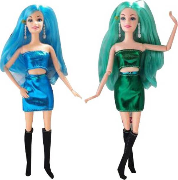 Yunicorn Max Girls Favorite Foldable Hands & Legs Party Doll Combo Set (Pack of 2 ) ) Blue & Green