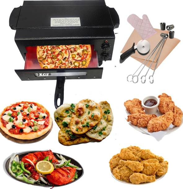 KGF 2000W Upper and Lower on/Off System Small Electric tandoor Pizza Maker Fish Chicken Tikka Naan Tandoori Roti Cake Baker French Fries Meat Barbecue Chaap Oil-free Fryer (Black)Comboo Electric Tandoor Electric Tandoor