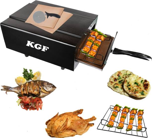 KGF Steel Element 1500W Small Electric Tandoor Combo Hand Gloves, Grill Stand, Magic Cloth, Recipe Book, 4 Skewers, Pizza Cutter, 4 Shocked Proof Rubber Legs (Black) Electric Tandoor Electric Tandoor