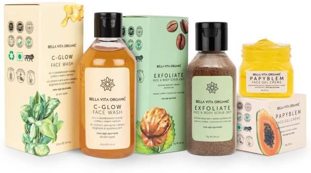 Bella vita organic Skin Care Combo For Blemishes, Pigmentation, Dark Spots & Tan Removal | Vitamin C Glow Face wash, Exfoliate Face & Body Scrub Grit & Papyblem Face Gel Face Wash