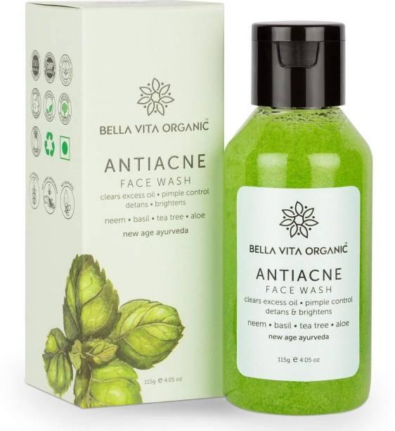 Bella vita organic Anti Acne  for Oil Control, Pimples Repair & Glow with Neem, Basil, Tea Tree & Aloe, 115g Face Wash