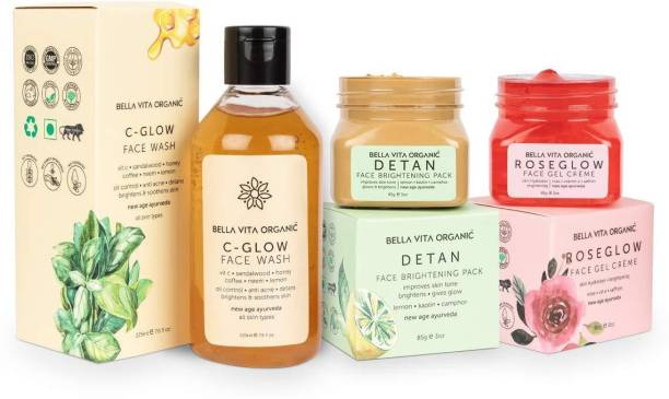 Bella vita organic Natural Skin Care Combo For Glowing Skin | Vitamin C Glow , Detan Face Pack & Rose Glow Face Gel Face Wash