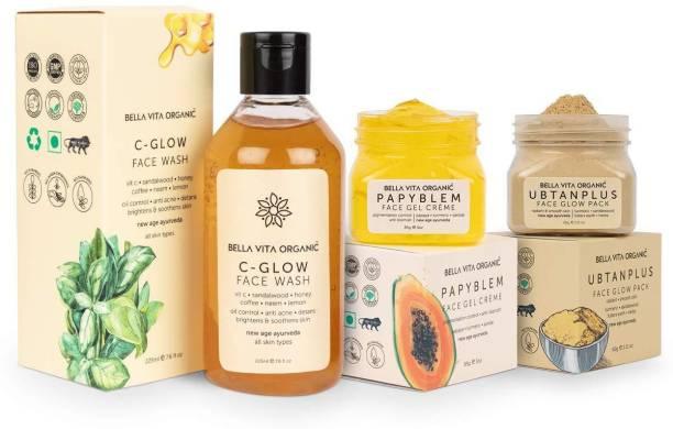 Bella vita organic Natural Face Care Combo For Spot Free Skin | Vitamin C Glow , Papyblem Face Gel & Ubtan Plus Face Pack Face Wash