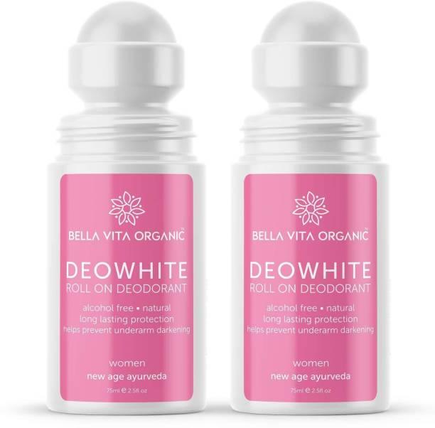 Bella vita organic 2 Pack DeoWhite Under Arm Skin Whitening & Lightening Natural Roll On Deodorant Combo For Women, 75 ml each Deodorant Roll-on  -  For Women