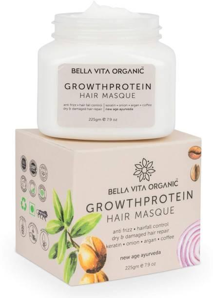 Bella vita organic Volume Protein Hair Spa Mask For Hairfall Control, Frizzy Hair Cream, Color Damaged Hair Repair & Growth With Keratin, Biotin, Argan, Onion, Tea Tree & Coffee, 225 g