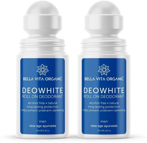 Bella vita organic 2 Pack DeoWhite Under Arm Skin Whitening & Lightening Natural Roll On Deodorant For Men, 75 ml Each Deodorant Roll-on  -  For Women