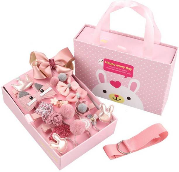 TRY 18 PCS BABY GIRL HAIR CLIPS SET  CUTE GIFT BOX   PINK COLOUR  HAIR ACCESSORIES 11 HAIR ALLIGATOR CLIPS 2 CLUTCHES 4 RUBBER BANDS 1 HAIR CLIPS HANGER Hair Accessory Set