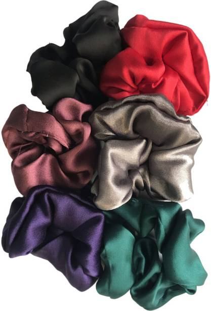 keizlo Stylish Silk Colorful Scrunchies Collection Pack Of 8 For Women And Girls Rubber Band