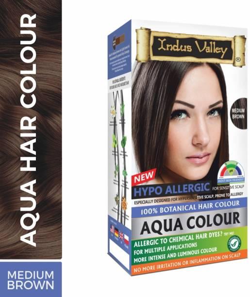 Indus Valley Hypoallergic Aqua Colour 100% Botanical Medium Brown Organic Hair Color , Medium Brown