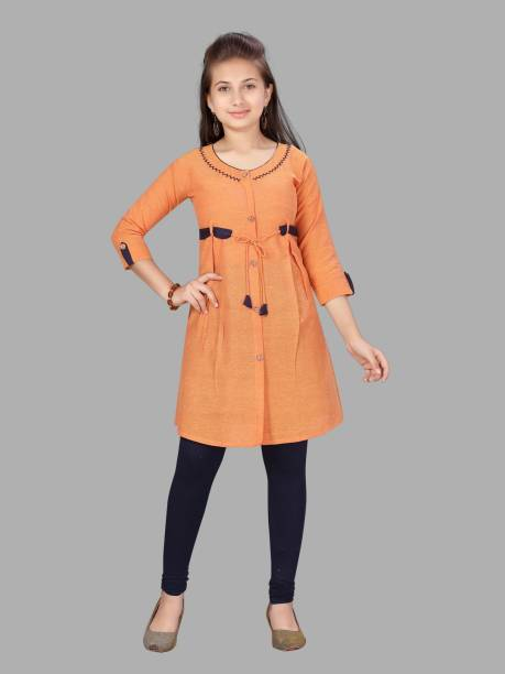 Aarika Girls Self Design Straight Kurta