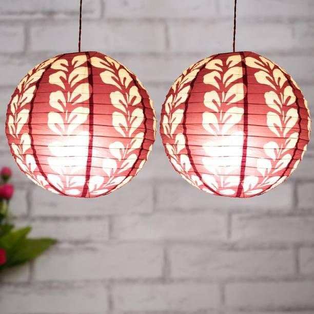 Flipkart SmartBuy Pack of 2 Decorative Paper Lamp - without light Red Paper Hanging Lantern