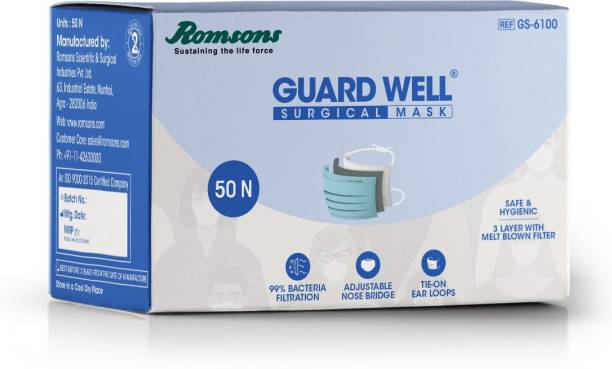 Romsons Guard Well 3 Ply Surgical Face Mask with Tie-On Ear Loops, 50 Pcs, (Pack of 1) Guard Well 3 Ply Surgical Face Mask with Tie-On Ear Loops, 50 Pcs, (Pack of 1) Surgical Mask With Melt Blown Fabric Layer