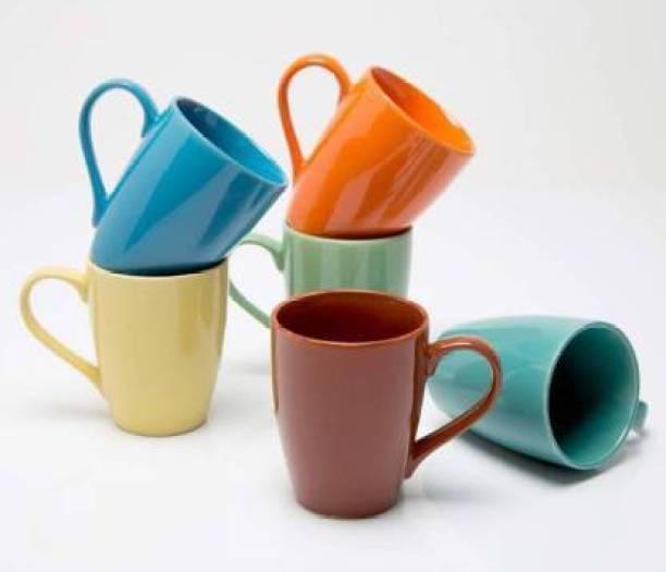 Onisha BIG-MULTI Ceramic Coffee (300 ml, Pack of 6) Ceramic Coffee Mug