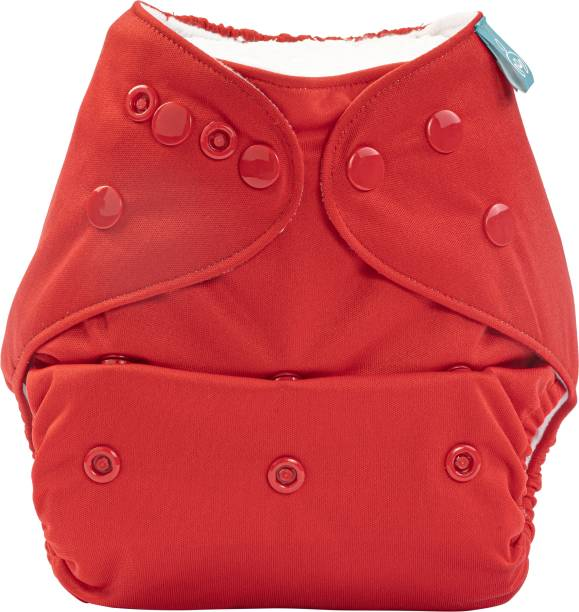 bumberry Adjustable Red Reusable Pocket Style Cloth Diaper Cover With 1 Wet Free Insert For Babies (3-36 Months)