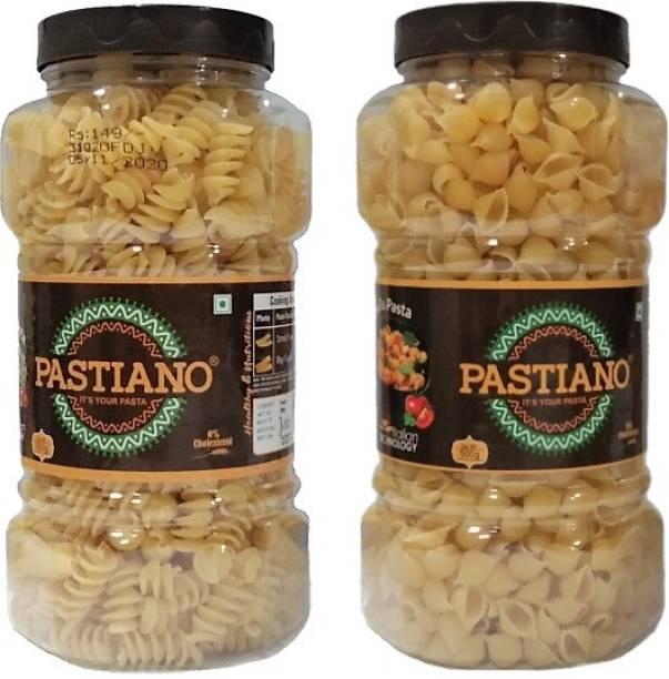 PASTIANO Big Fusilli and Shells Pasta Jars 500gm X2- Pack of 2 Fusilli, Shell Pasta Fusilli, Shell Pasta