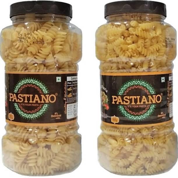 PASTIANO Big Fusilli and Fusilli Pasta Jars 500gm X2- Pack of 2 Fusilli, Spirali Pasta