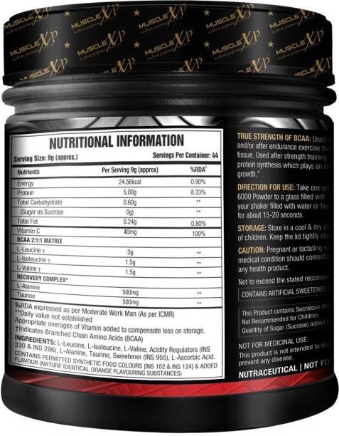 MUSCLEXp Instantized BCAA 6000 with L-Alanine & Taurine - 400g (14 Oz) Orange - 44 Servings BCAA
