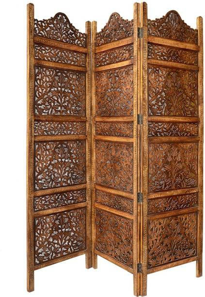 Decorhand Handcrafted 3 Panel Wooden Room Partition & Room Divider (Brown) Solid Wood Decorative Screen Partition Solid Wood Decorative Screen Partition