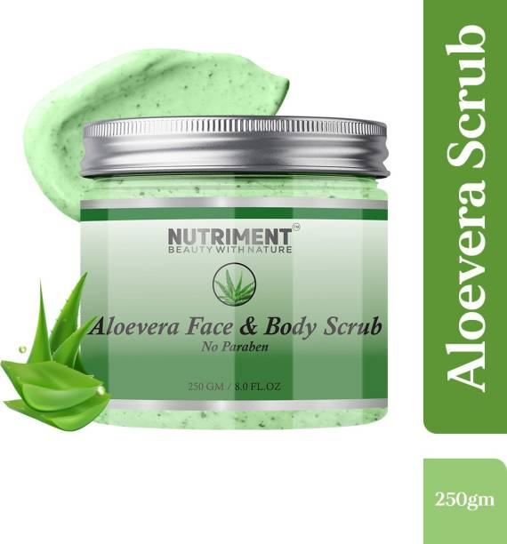 Nutriment Aloevera Scrub for Dead skin Cells Removal, Removing Blackheads and Revitalises Healthy Skin, Paraben Free 250gram Suitable for all skin types, PACK OF 1 Scrub
