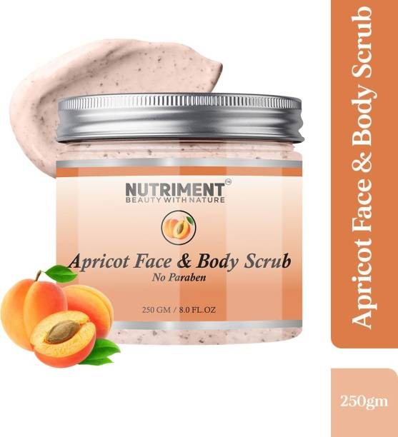Nutriment Apricot Scrub for Dead skin Cells Removal, Removing Blackheads and Revitalises Healthy Skin, Paraban Free 250gram Suitable for all skin types Scrub
