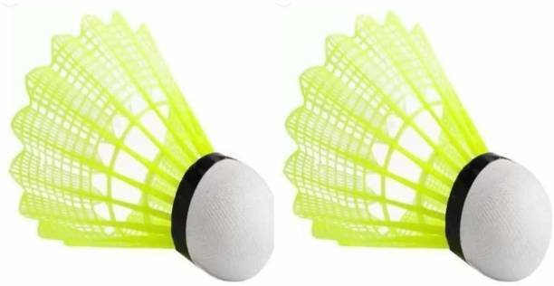 HeadTurners Nylon Badminton Shuttlecock, Pack of 2 Shuttles Nylon Shuttle  - Multicolor