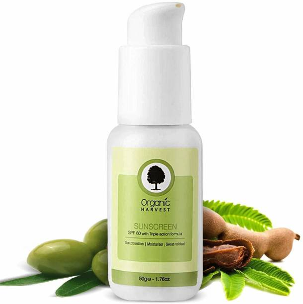 Organic Harvest Sunscreen SPF 60 with Triple Action Formula, Protects From Harmful UVA & UVB Rays, PA+++, Hydrates & Nourished Skin, For All Skin Type, 100% Organic, Sulphate & Paraben Free - SPF SPF 60 50gm PA+